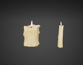 Old Candles Low Poly Game Ready 3D asset
