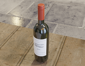 3D model Wine bottle glass