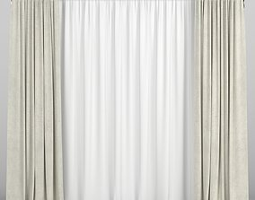 3D model Beige straight curtains with tulle