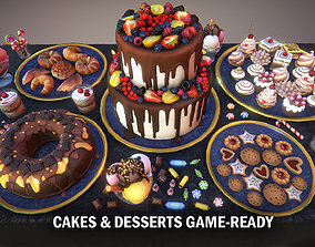 Cakes and desserts 3D asset