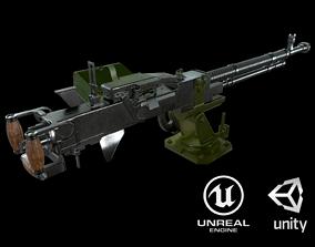 3D asset low-poly Dshk Heavy Machine Gun