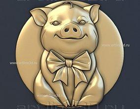 coin 3D print model Pig pendant