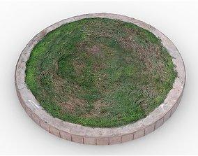 Raised Circular Lawn 3D asset