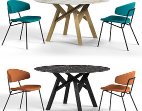 3D model Calligaris sophia chair and jungle table