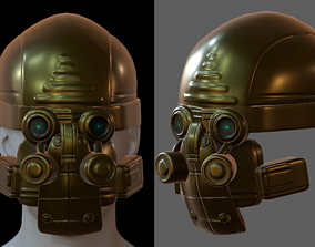Gas mask helmet 3d model scifi Low-poly character PBR