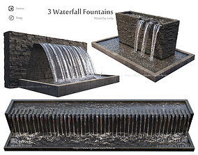 3D model 3 Waterfall fountains wide rock panel