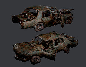 3D asset Apocalyptic Damaged Destroyed Vehicle Car Game 2