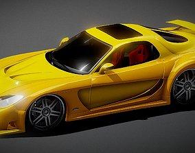 low-poly Mazda RX-7 Spor Car 3D Model