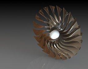 Jet engine compressor turbine 3D model