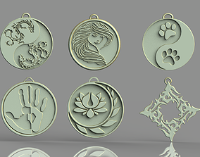 3D printable model Set of pendants 6 pieces stl
