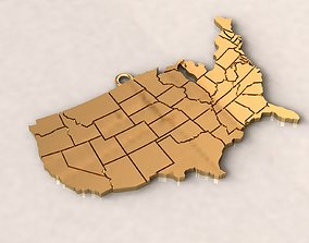 3D print model USA United States of America Map Charm 1