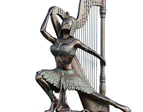 3D model Egyptian with harp