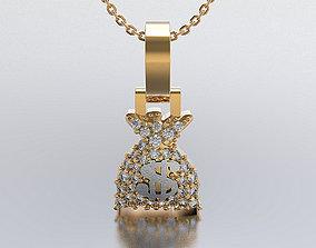 3D printable model Money Bag pendant full stones
