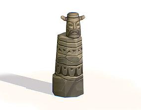 3D model Handpaint Cartoon Stone Memorial Totem
