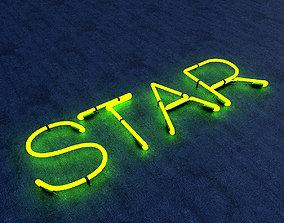 3D asset Star Neon Sign