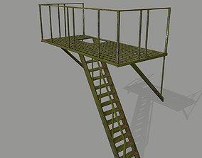 3D model low-poly Fire Escape