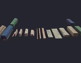 3D model Log Planks Wooden Beams Plywood