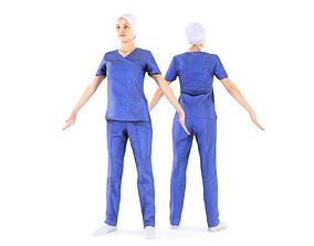 Surgical nurse A-pose 44 3D asset