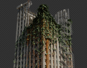 Abandoned Destroyed House overgrown with Evy 3D