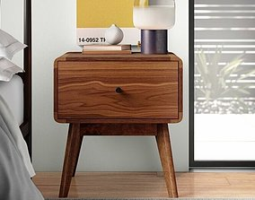 Tanya Mid-Century 1 Drawer Nightstand 3D model