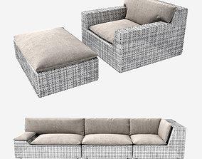Dedon lou sofa chair and foot stool 3D