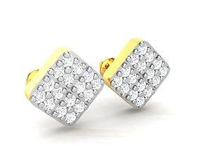 diamond Women square earrings 3dm render detail