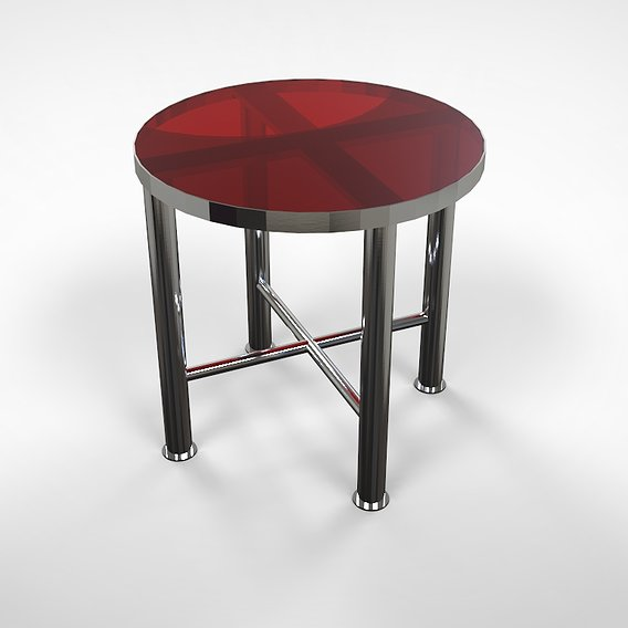 stainless steel phone table whit round glass