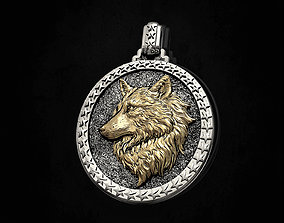 3D print model Wolf profile pendant