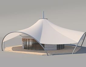 Cafe with Membran Canopy 3D model