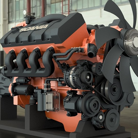 Scania V8 Turbo Engine  It is the most detailed 3D design, I suggest you to follow my page