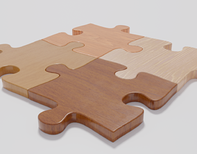 Wooden Jigsaw Puzzle 3D model low-poly