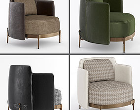 Minotti tape armchairs 3D model cloth