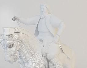 Genghis khan statue model 3D