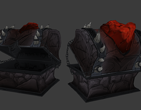 Stylized Hand Painted Cursed Chest 3D asset
