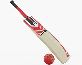 Cricket Bat and Ball 3D asset VR / AR ready