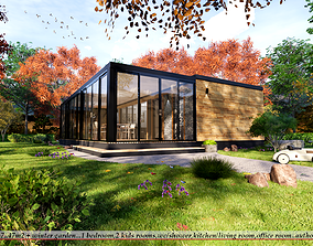3D asset modern mobile home tiny house vacation house on