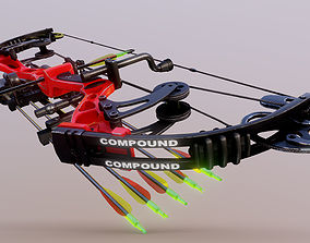 Compound Bow 3D model low-poly