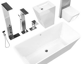 White Bathroom Fixtures 3D