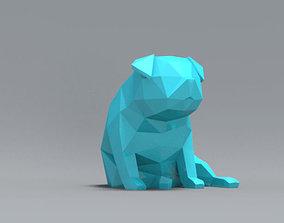 print Low Polygon Pug dog model