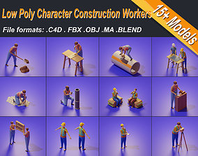 rigged Low Poly 3D Stylized Character Construction Workers