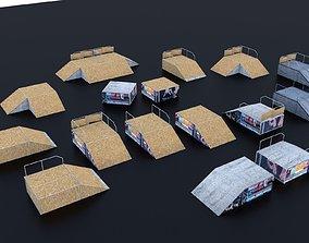 3D model Skate Park Extreme sports fun boxes ramps wood 2