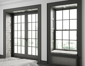 3D model Double-Hung Window with Balcony Door