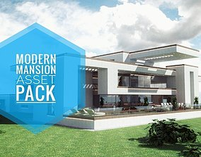 low-poly Modern Mansion Complete Modular Asset Kit