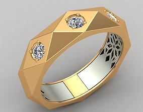3D print model Faceted Cut Diamond Gold Wedding Ring