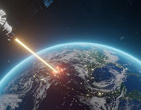 satellite blowing up planet earth 3D model