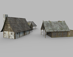 crib 3D model Lowpoly medieval houses
