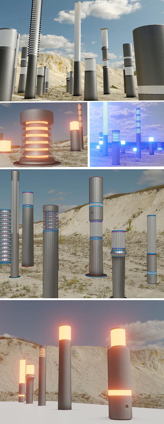 Light Columns Basic (Low-Poly Version) Street Light Set-9