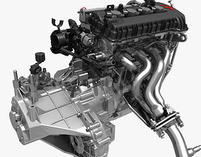 3D Engine with Transmission Exhaust