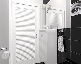 WC with dark tiled 3D model