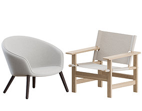 The Canvas Chair and Ditzel Lounge Chairs by 3D model